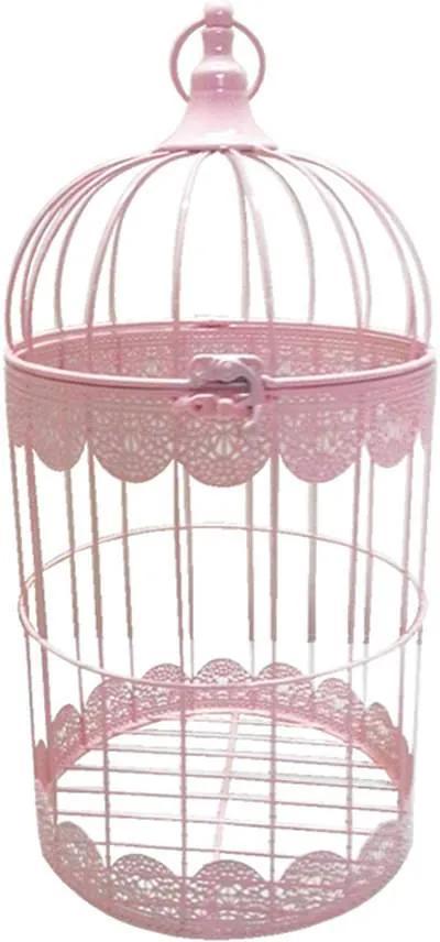 Gaiola Fancy Laces Rosa em Ferro - Urban - 40x20 cm