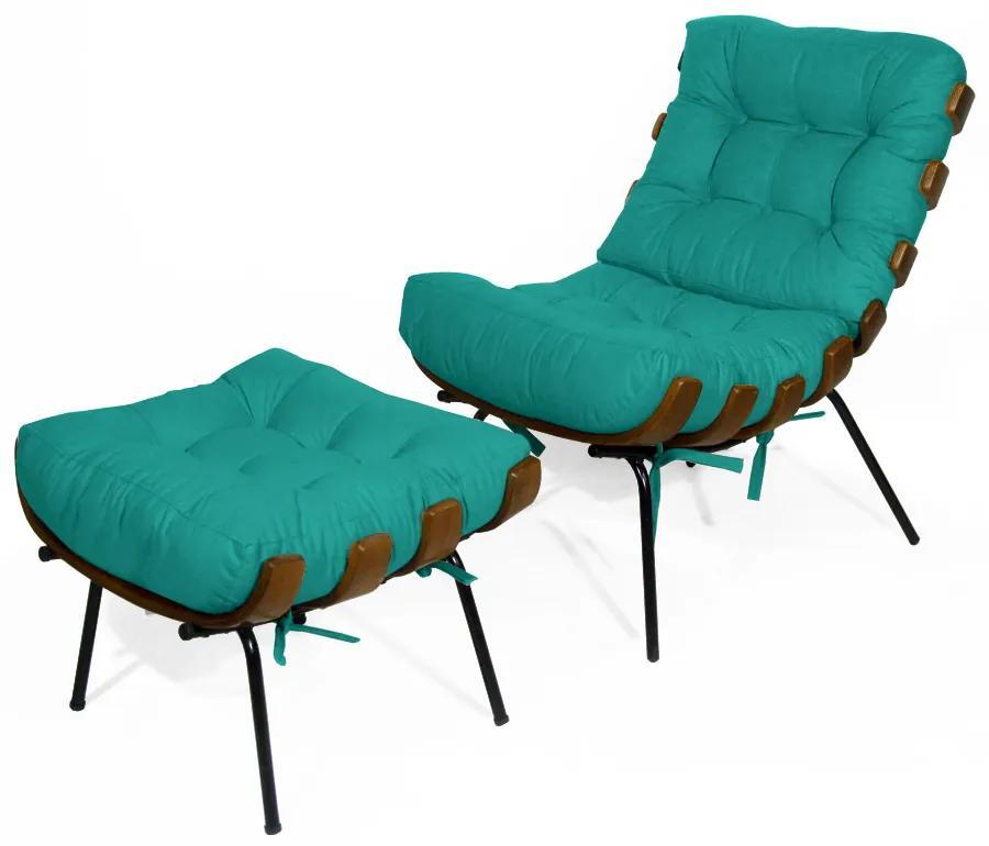 Kit Poltrona Decorativa Costela com puff Costela Suede Azul Tiffany