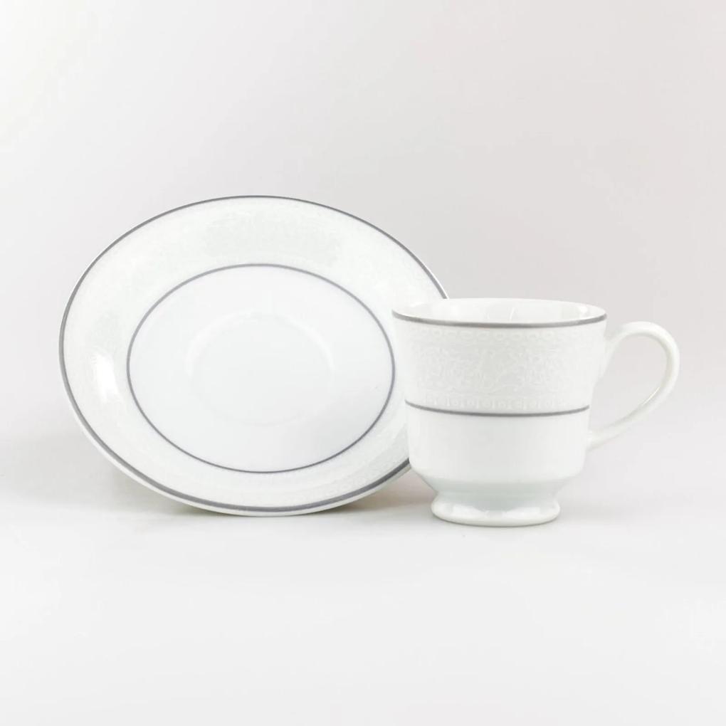 Xícara Café Com Pires 60 ml Porcelana Schmidt - Dec. Martha