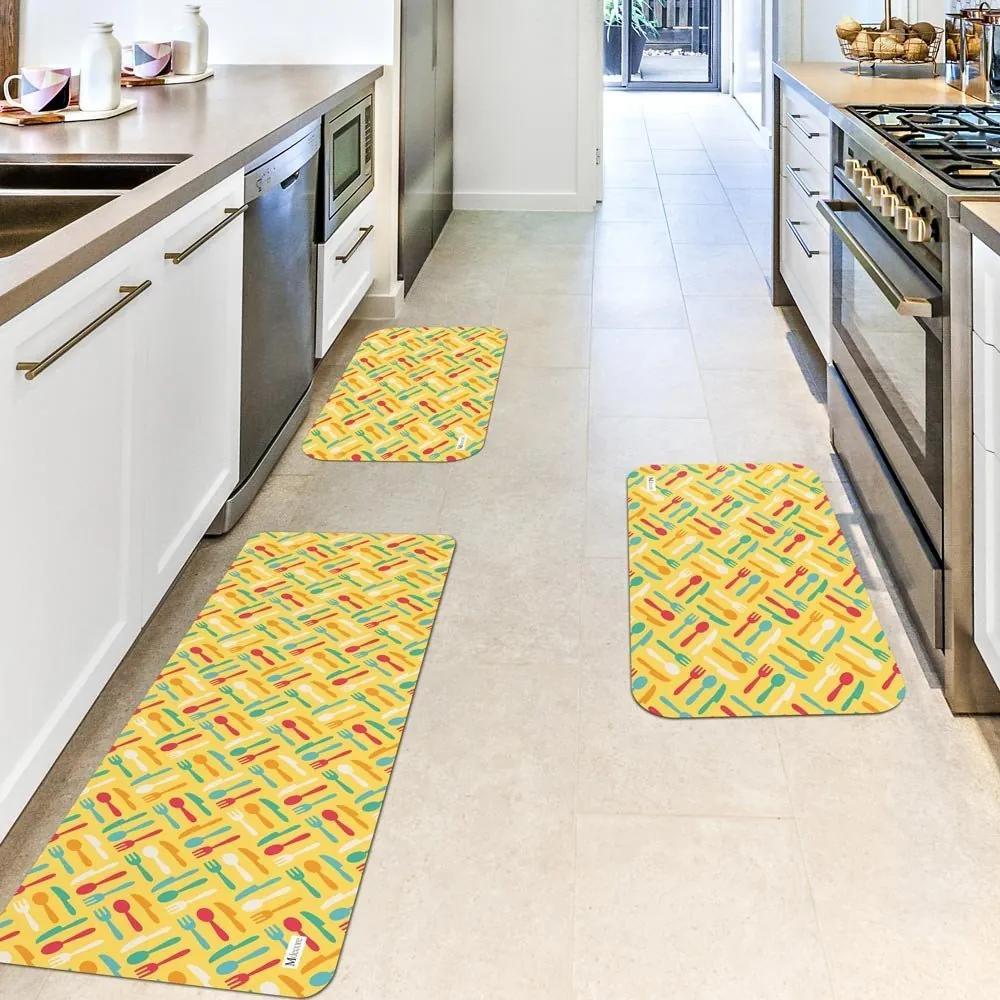 Kit com 3 Tapetes de Cozinha Mdecore Utensílios Amarelo Único