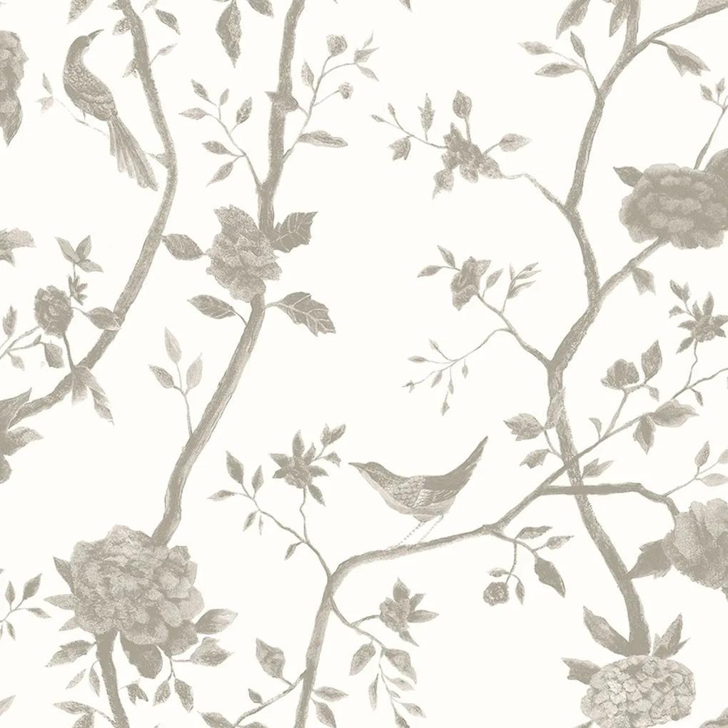 Papel de Parede Pássaros Cinza Claro 52cm x 10m Rustic