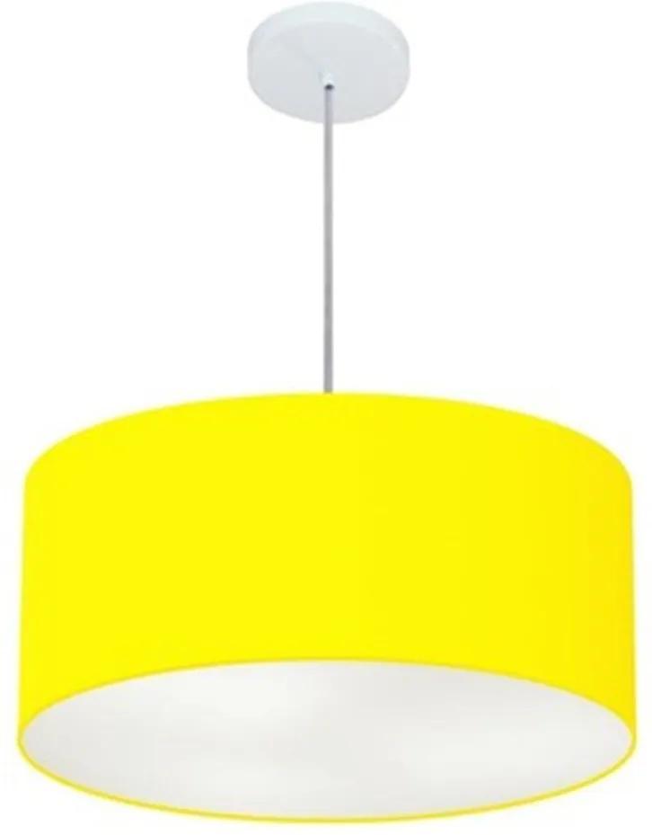 Lustre Pendente Cilíndrico Vivare Md-4049 Cúpula em Tecido 50x21cm - Bivolt - Amarelo - 110V/220V (Bivolt)