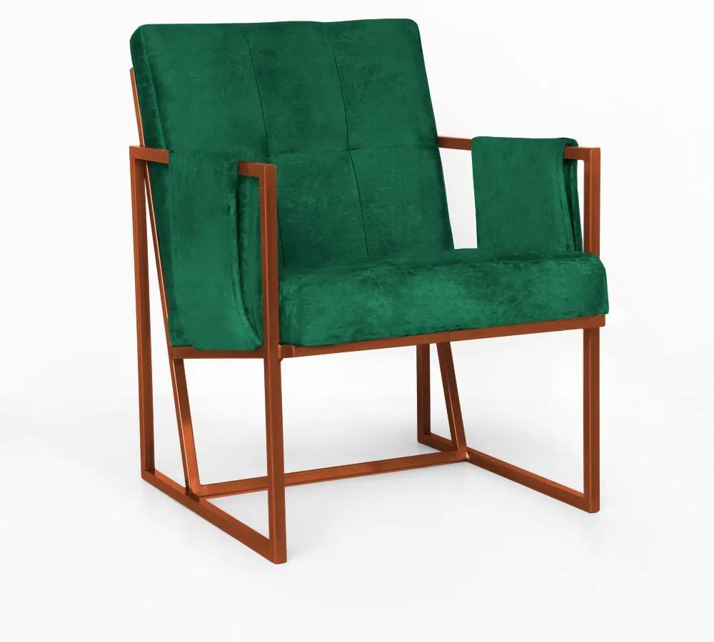 Poltrona Megan Luxo  Decorativo Base Bronze Suede Verde Bandeira