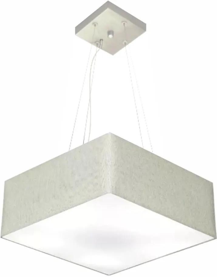 Lustre Pendente Quadrado Md-4196 Cúpula em Tecido 15/45x45cm Rustico Cinza - Bivolt