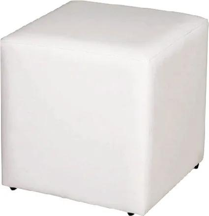 Puff Decorativo Quadrado Corino Branco 45X34X34Cm Orthovida