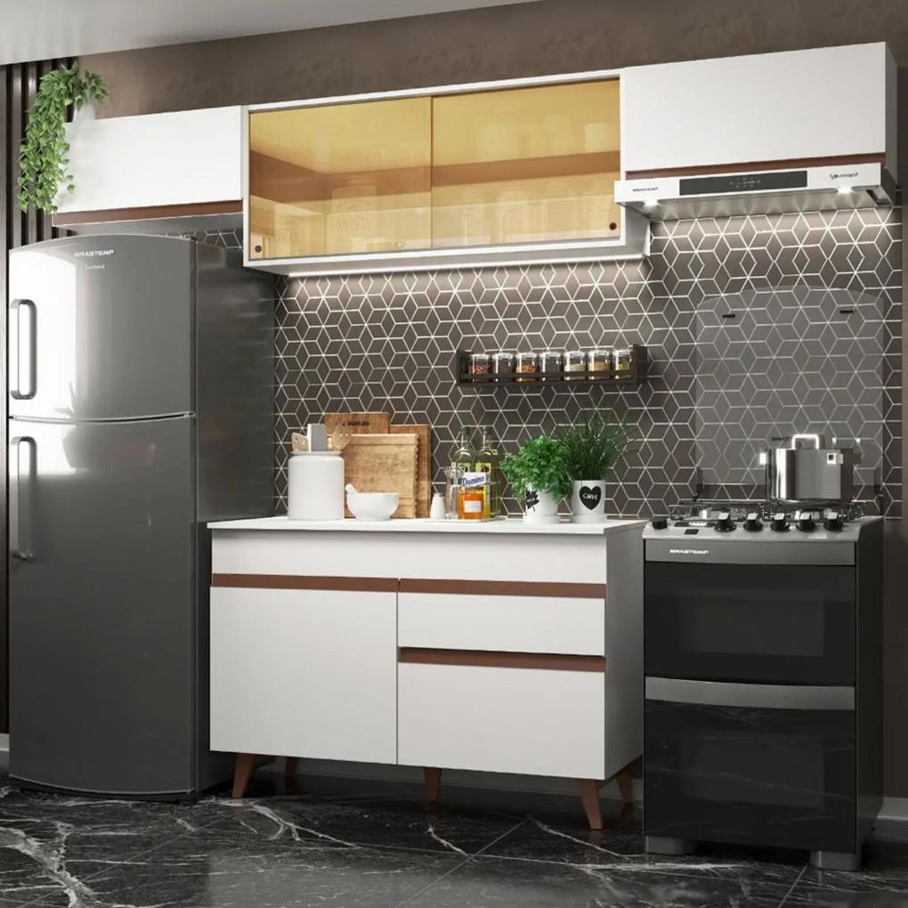 Cozinha Compacta Madesa Reims 260003 com Armário e Balcão - Branco Branco