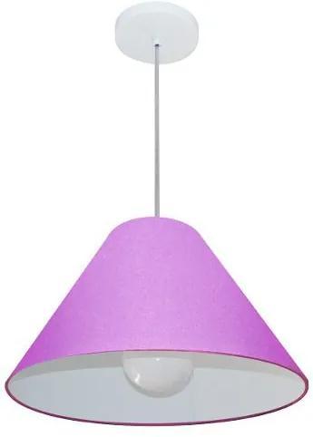 Lustre Pendente Cone Md-4078 Cúpula em Tecido 25/40x15cm Lilás - Bivolt