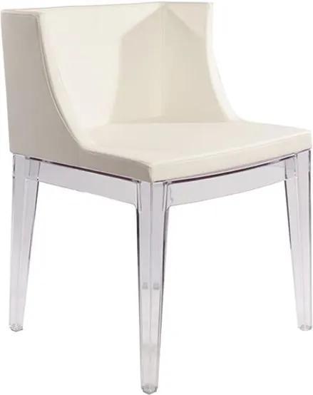 Cadeira Poltrona Mademoiselle Pés Incolor Assento Couríssimo Branco