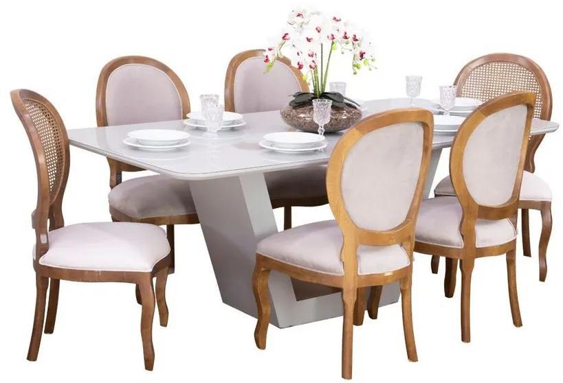 Conjunto Sala de Jantar Mesa Lilie com 6 Cadeiras Medalhão - Wood Prime 38706
