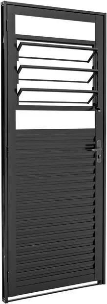 Porta de Aço Veneziana de Abrir com Báscula Prátika Black Preta 1 Folha Abertura Direita 217x87x6,5 - 24124312 - Sasazaki - Sasazaki
