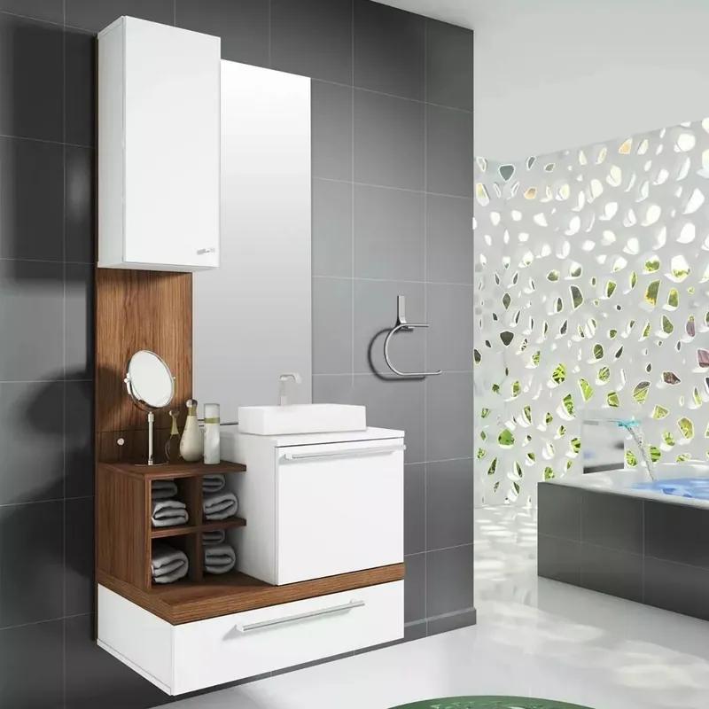 Gabinete P/ Banheiro Completo Mdf C/ Cuba Pia Espelho Balcão Alteza