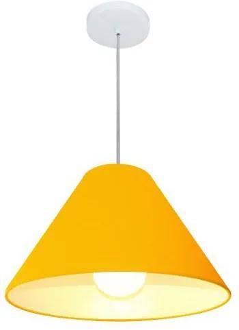 Lustre Pendente Cone Md-4078 Cúpula em Tecido 25/40x15cm Laranja - Bivolt