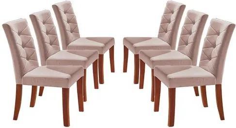 Kit 6 Cadeiras de Jantar Estofada Rosé em Veludo Sirt