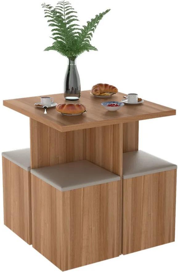 Conjunto para Sala de Jantar Mesa e 4 Banquetas Bliv - Castanho/Bege