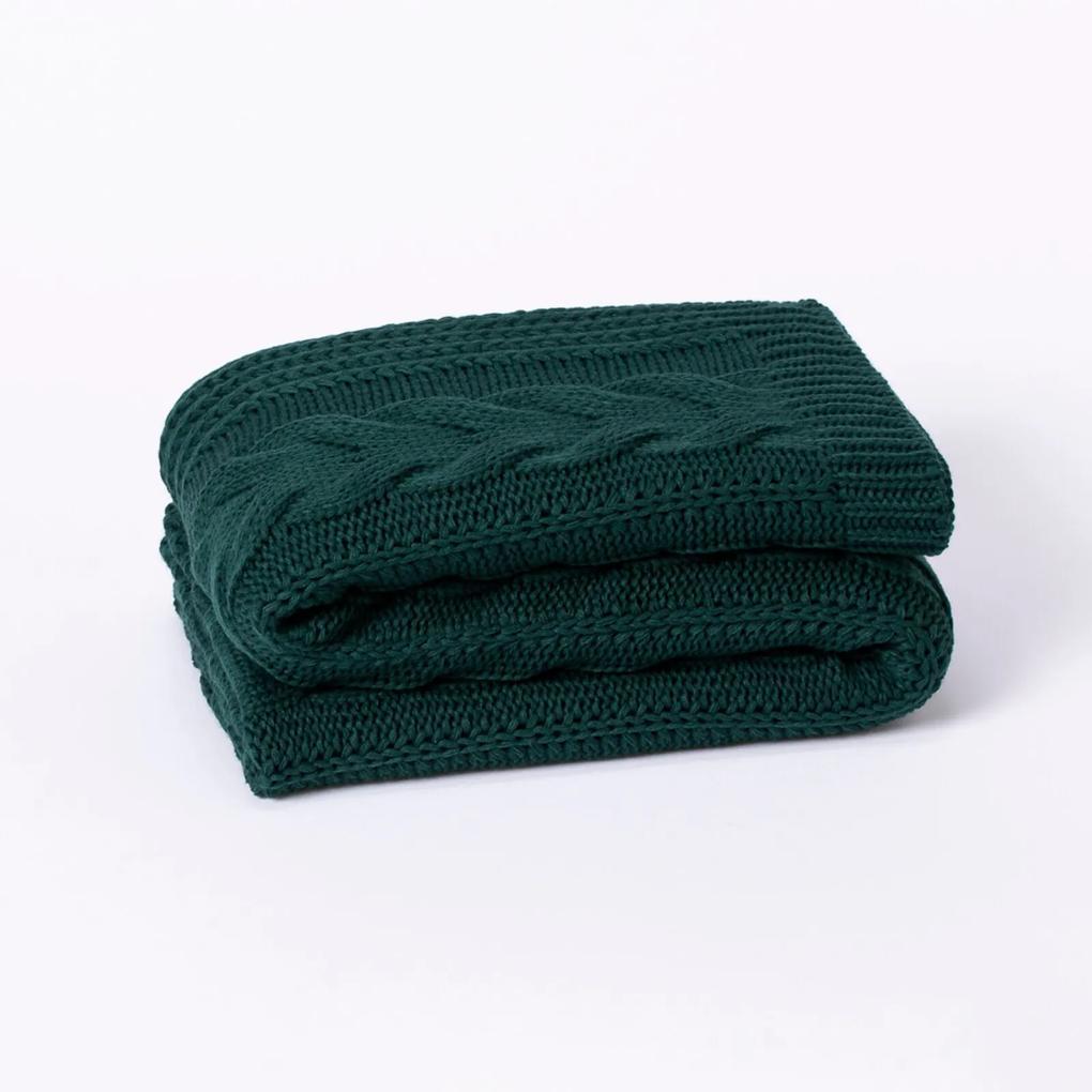 Peseira Cama Solteiro Trico Manta Sofá 150cmx90cm Cod 1065S2 Verde Musgo