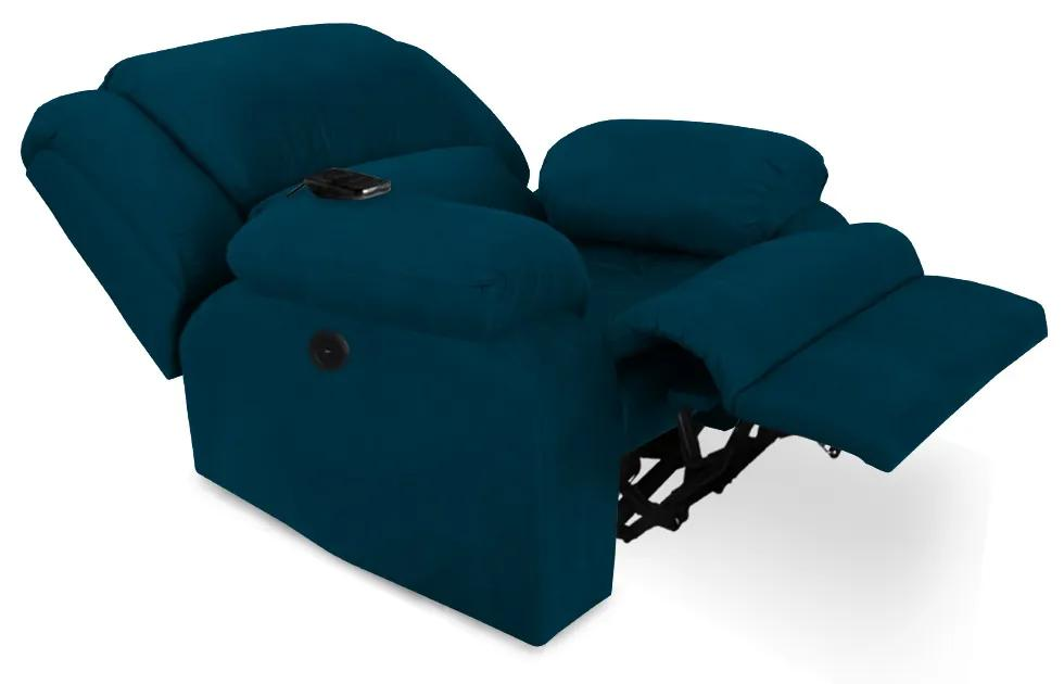 Poltrona Decorativa Magnum Reclinável Elétrica com Massagem Suede Azul Marinho