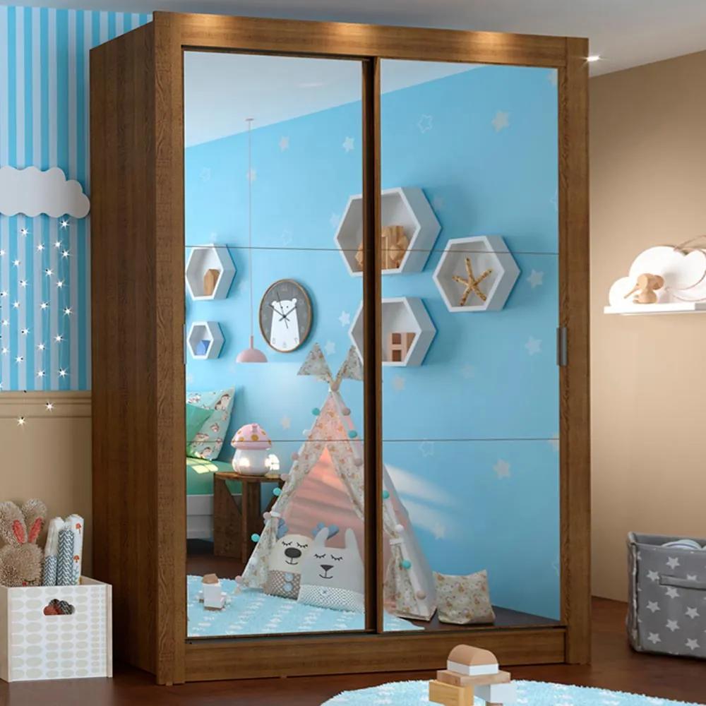 Guarda-Roupa Infantil Madesa Bento 2 Portas de Correr de Espelho 2 Gavetas Rustic Cor:Rustic