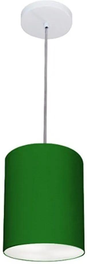Lustre Pendente Cilíndrico Md-4012 Cúpula em Tecido 18x25cm Verde Folha - Bivolt