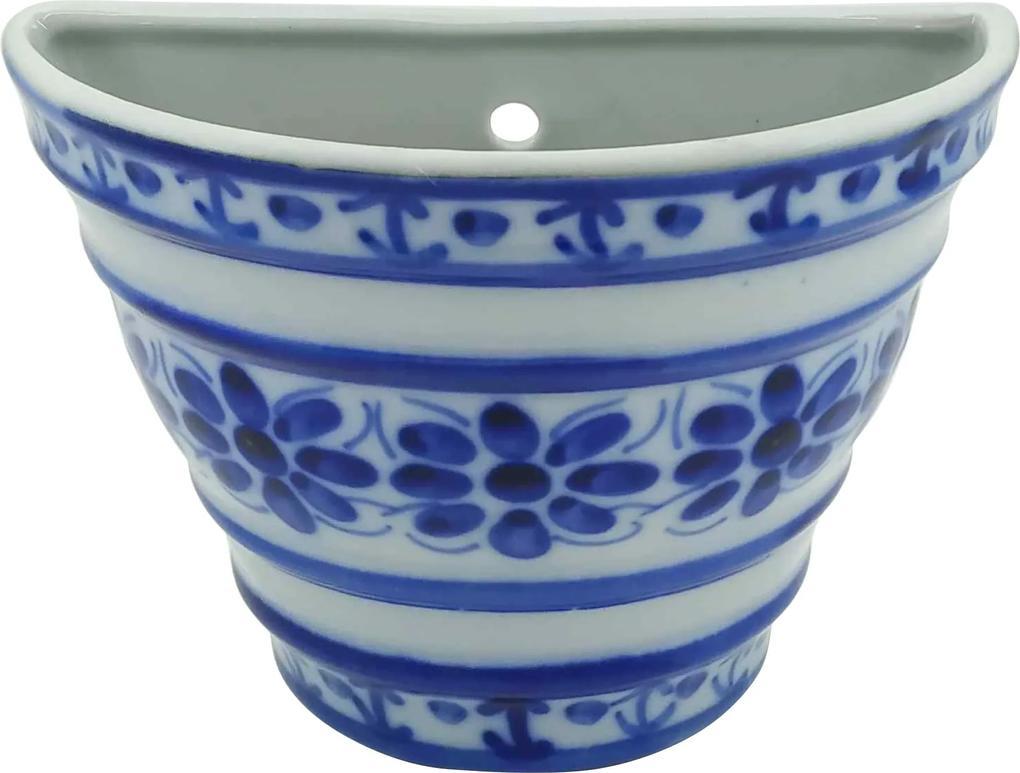 Vaso de Parede em Porcelana Azul Colonial 12 cm