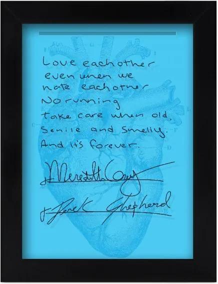 Quadro Porta Lembranças Grey's Anatomy - Post It Casamento Meredith e Derek