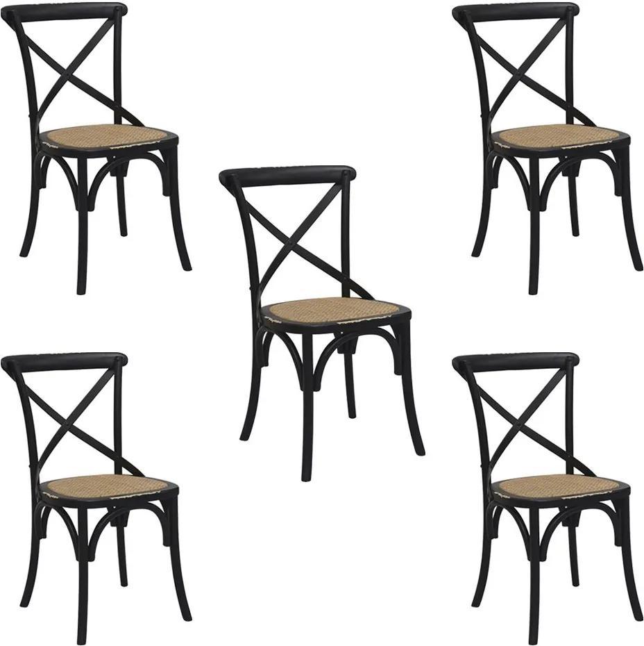 Kit 5 Cadeiras Decorativas Sala De Jantar Cozinha Danna Rattan Natural Preta  - Gran Belo