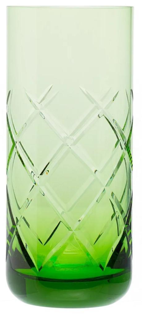 Copo de Cristal Lapidado Artesanal Long Drink - Verde Claro - 65