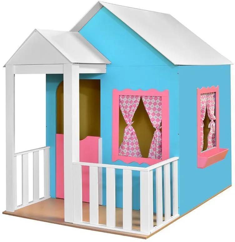 Casinha de Brinquedo com Cercado Azul/Rosa - Criança Feliz