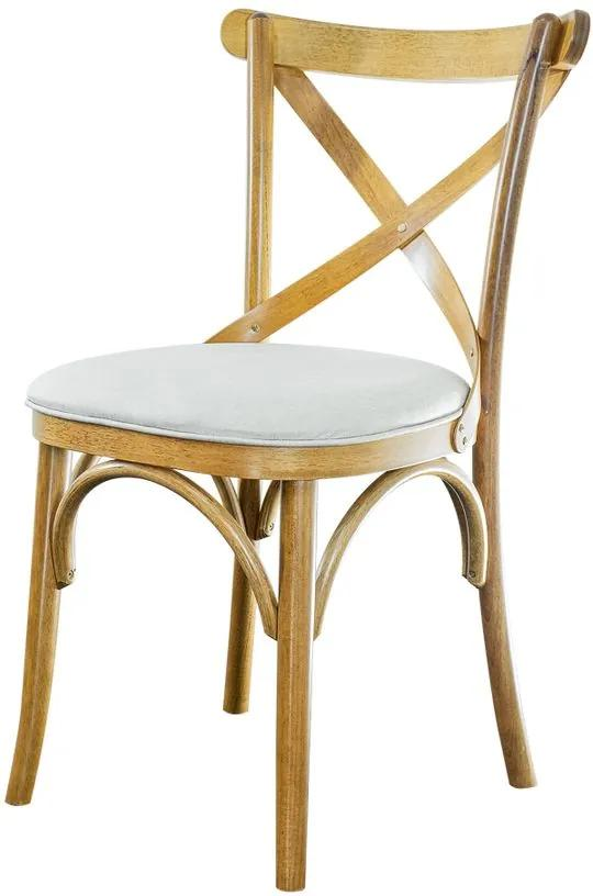 Cadeira de Jantar X Espanha Estofada Amêndoa Linho Cru - Wood Prime PTE 35015