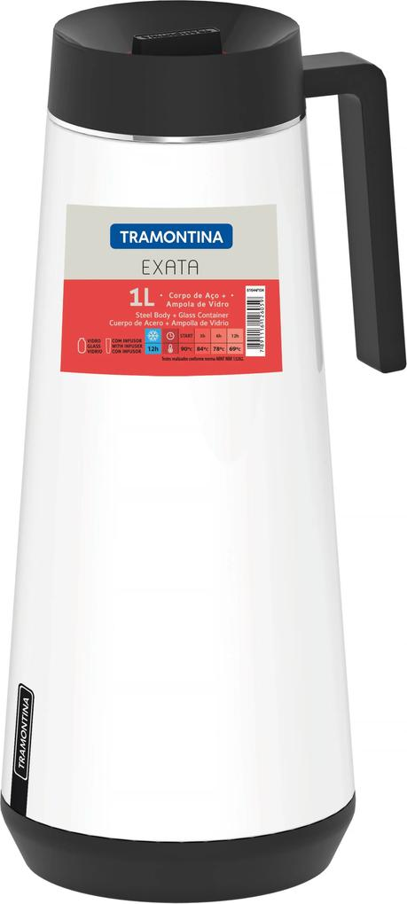 Garrafa Térmica Tramontina Exata Em Aço Inox Branco Com Infusor 1 L 61644104