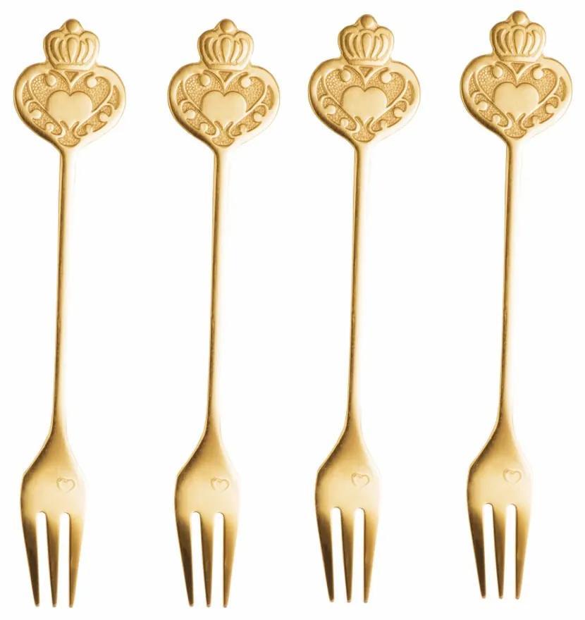 Jogo Garfos Para Petisco Inox 4 Peças Key Dourado 28288 Bon Gourmet