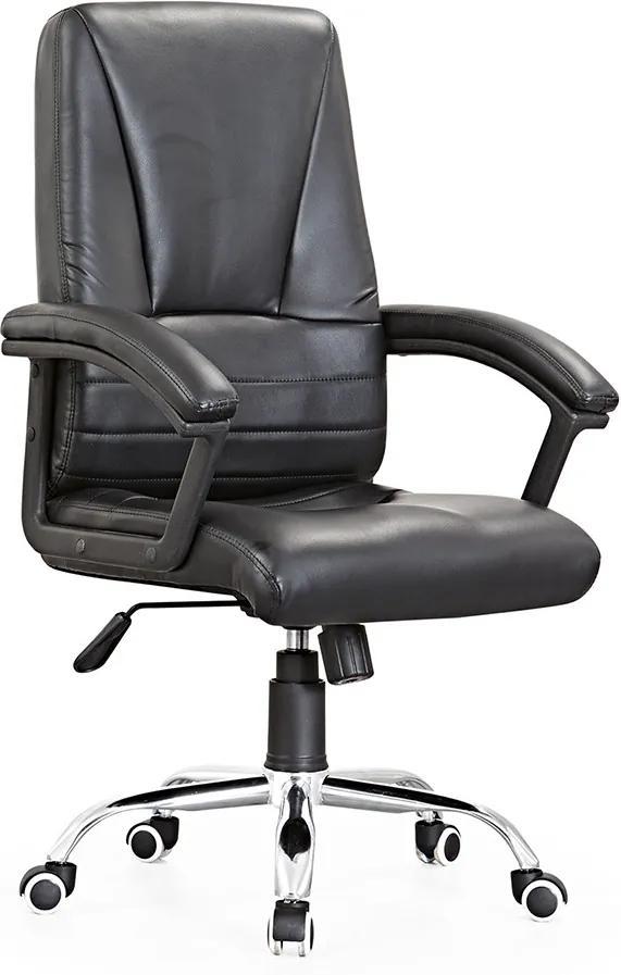 Cadeira de Escritório Giratória Com Regulagem de Altura Chicago Couro PU Preto - Gran Belo