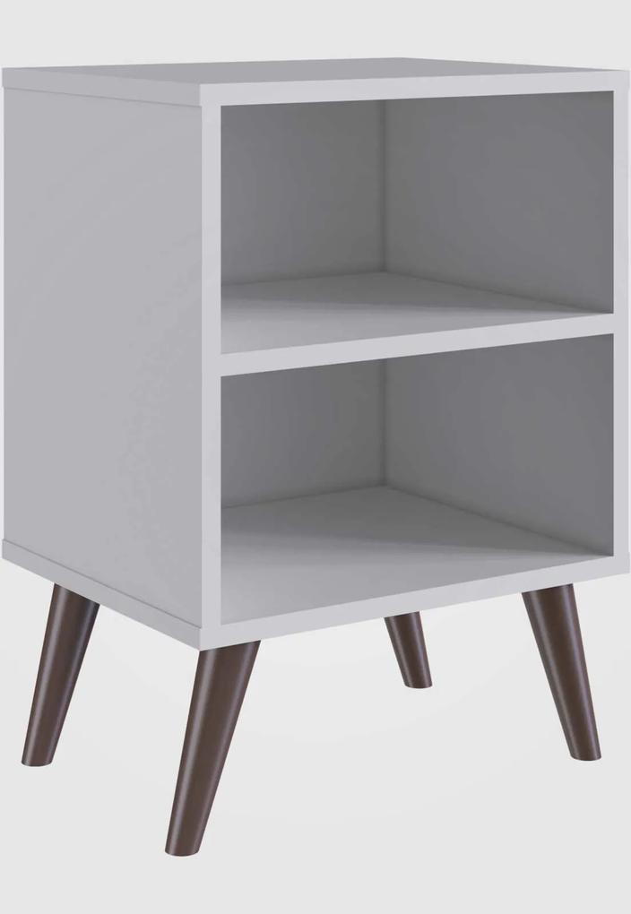 Mesa de Cabeceira  C/ Prateleira Branco Completa Móveis
