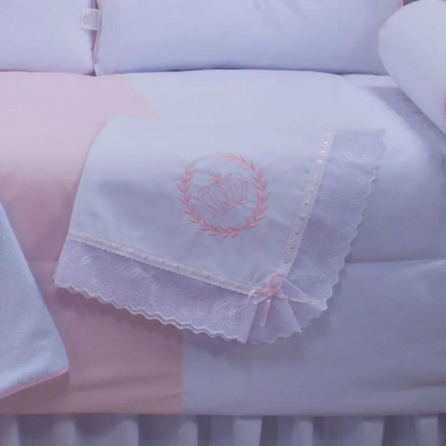 Manta de Bebê Realeza Rosa 100% Algodão