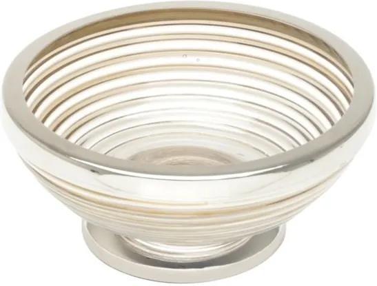 Saboneteira De Vidro Com Inox Niquelado Évora Dourado 12,5x5,5cm 27199 Prestige