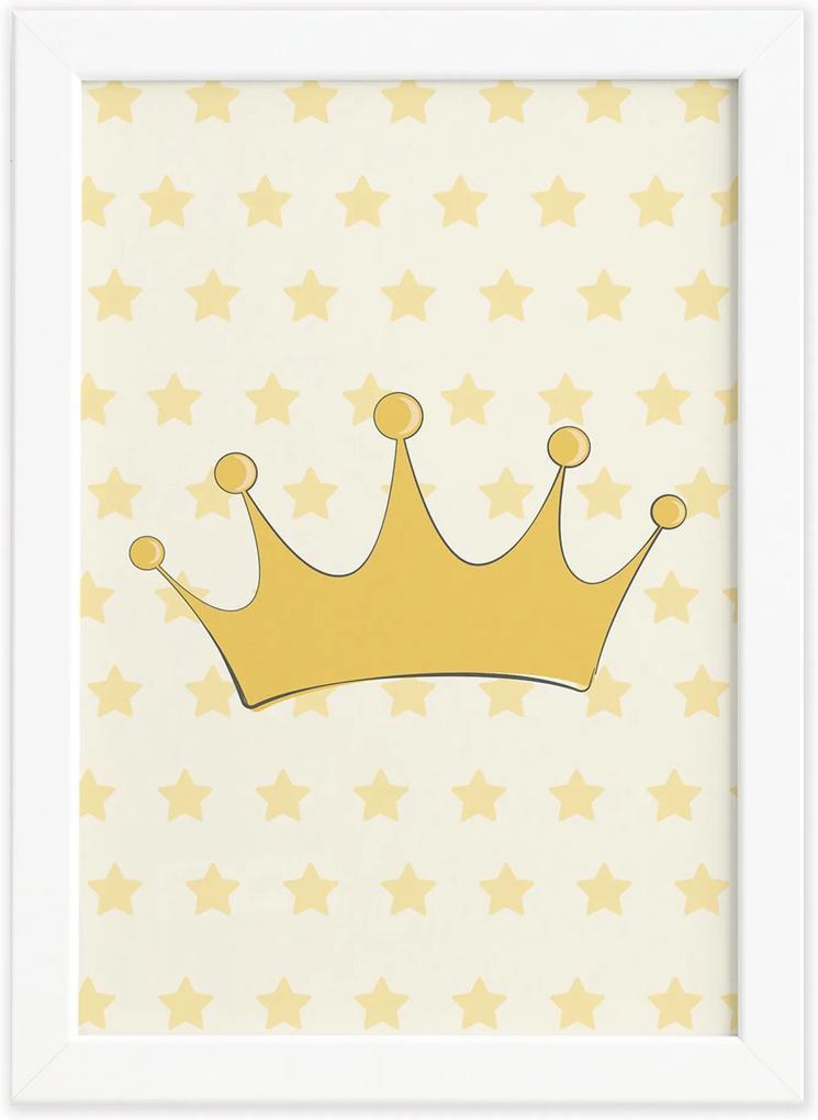Quadro Decorativo Quarto Bebê Ursinha Princesa Coroa 33x43cm Moldura Branca