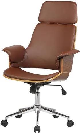 Cadeira Office Coimbra PU Marrom Base Cromada - 37783 Sun House