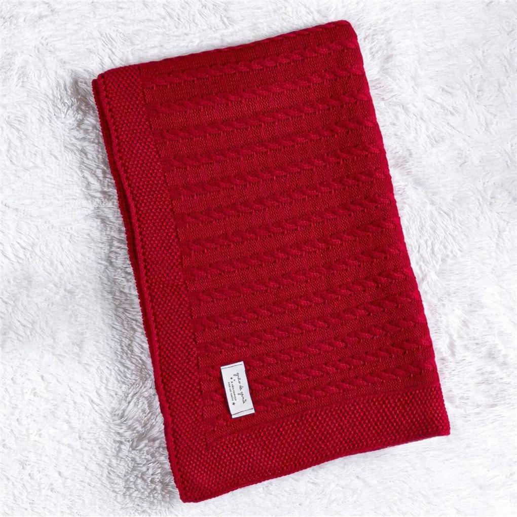 Manta Bebê Vermelho Tricot Trança 80cm Grão de Gente Vermelho