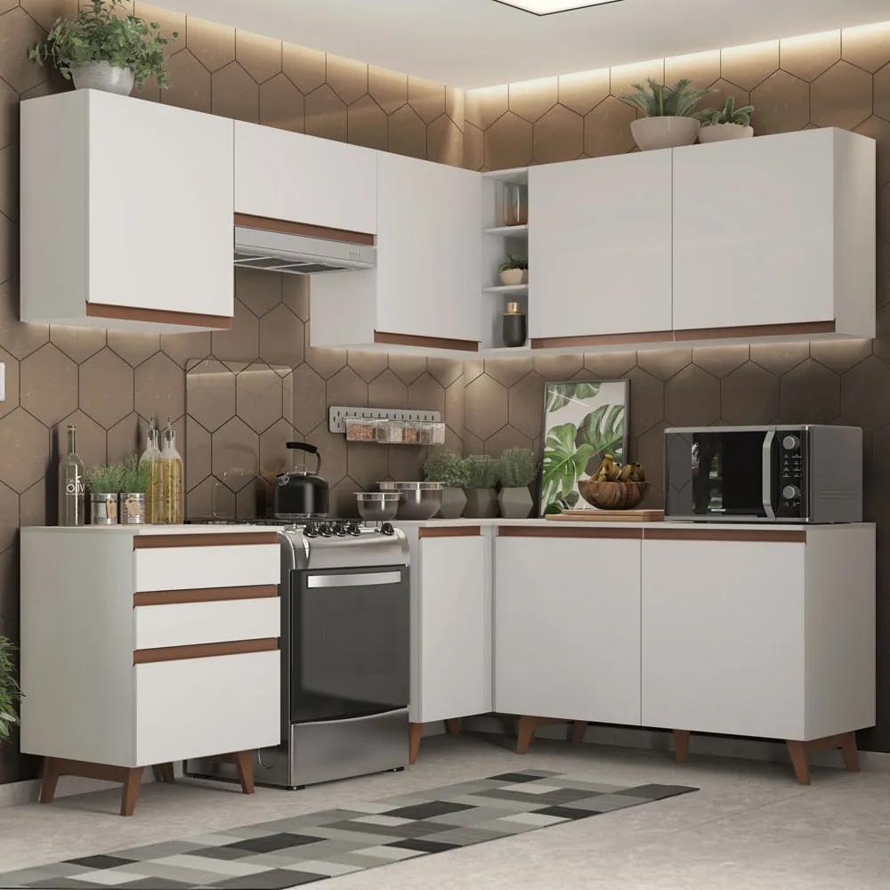 Cozinha Completa de Canto Madesa Reims 392001 com Armário e Balcão Branco Cor:Branco