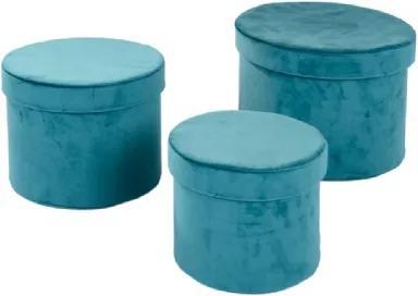 Conjunto de Caixas de Veludo Verde 3 peças
