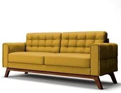 Sofá 180 cm 3 Lugares Sandero B-279 Veludo Amarelo - Domi