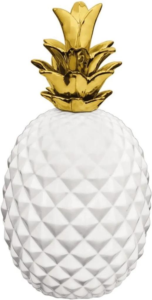 Abacaxi Mart Em Ceramica Branco E Dourado