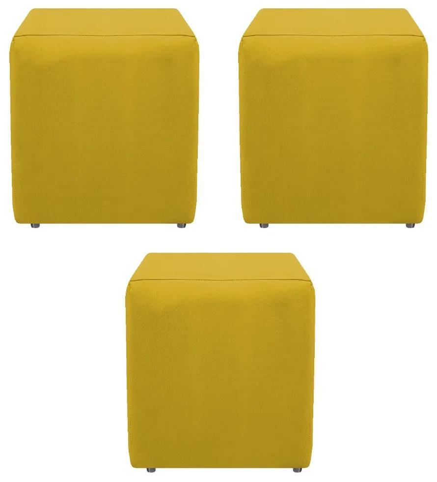 Kit 03 Puffs Decorativos Dado  Suede Amarelo - ADJ Decor