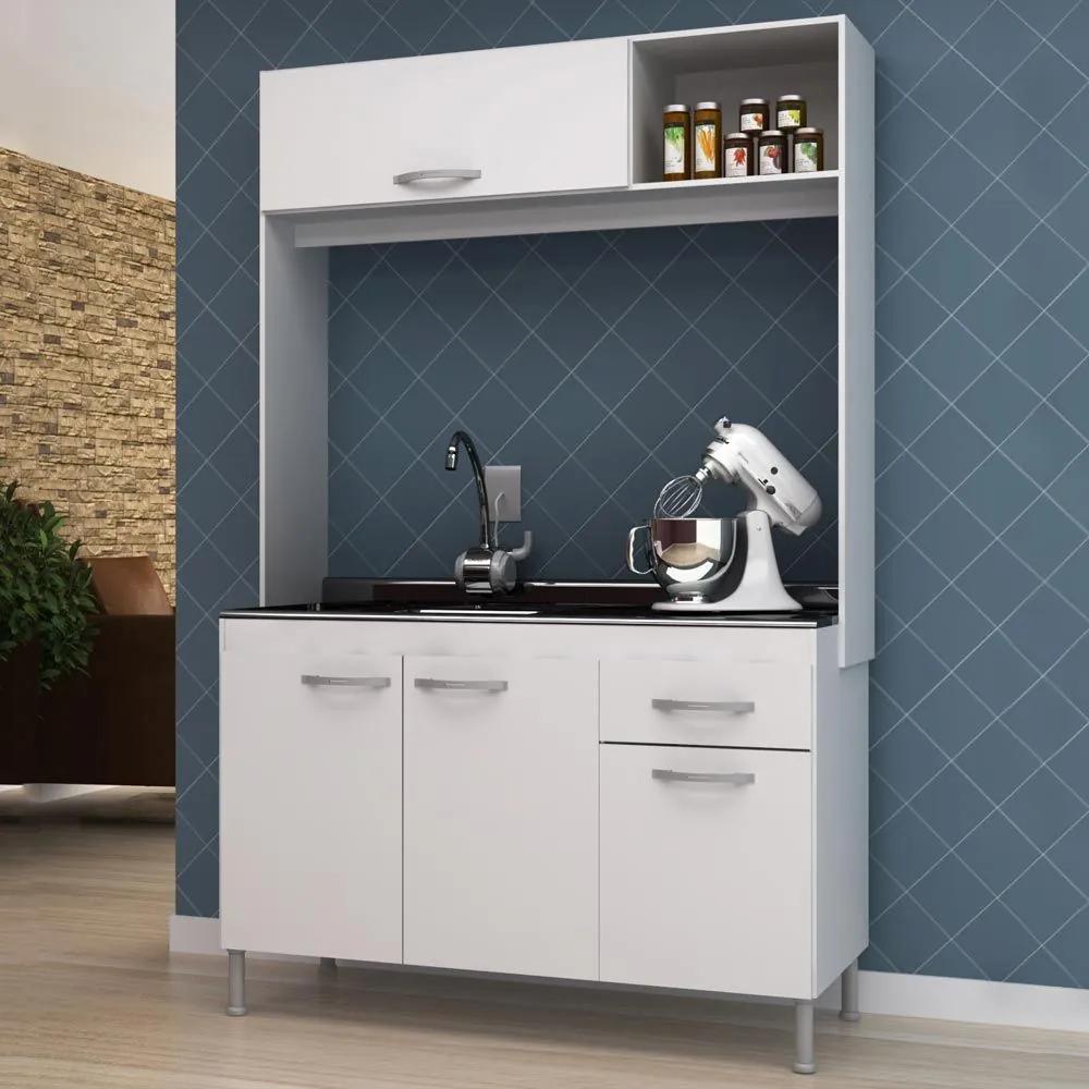 Cozinha Compacta 4 Portas 1 Gaveta Denver Branco - Manto Móveis