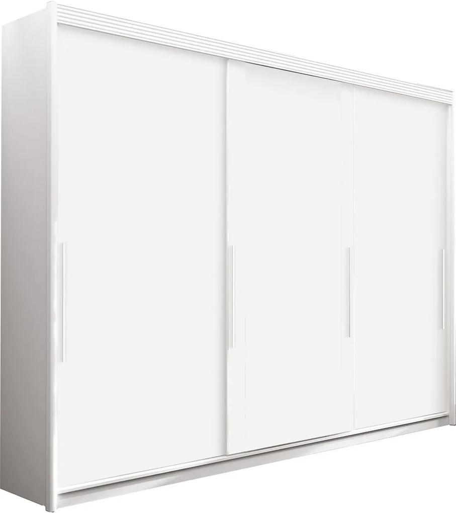 Guarda Roupa Torino 3 Portas Deslizantes Branco Móveis Fazzio