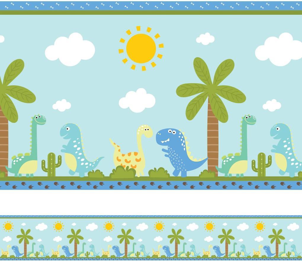 Faixa Decorativa Adesiva Infantil Dinossauro Baby 6mx15cm