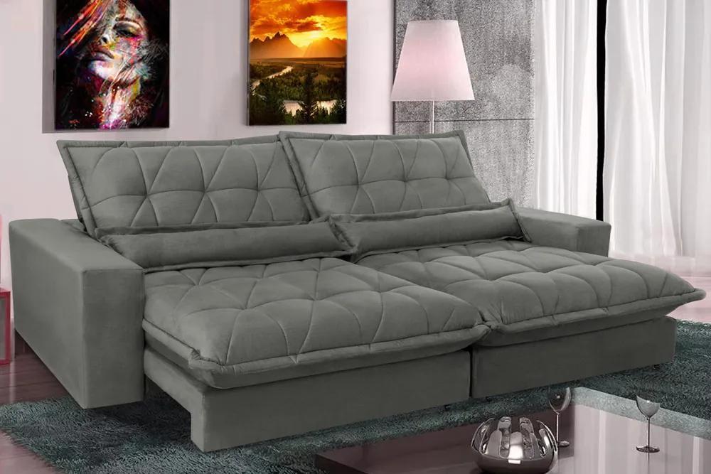 Sofa Retrátil E Reclinável 3,12m Com Molas Ensacadas Cama Inbox Soft Tecido Suede Cinza