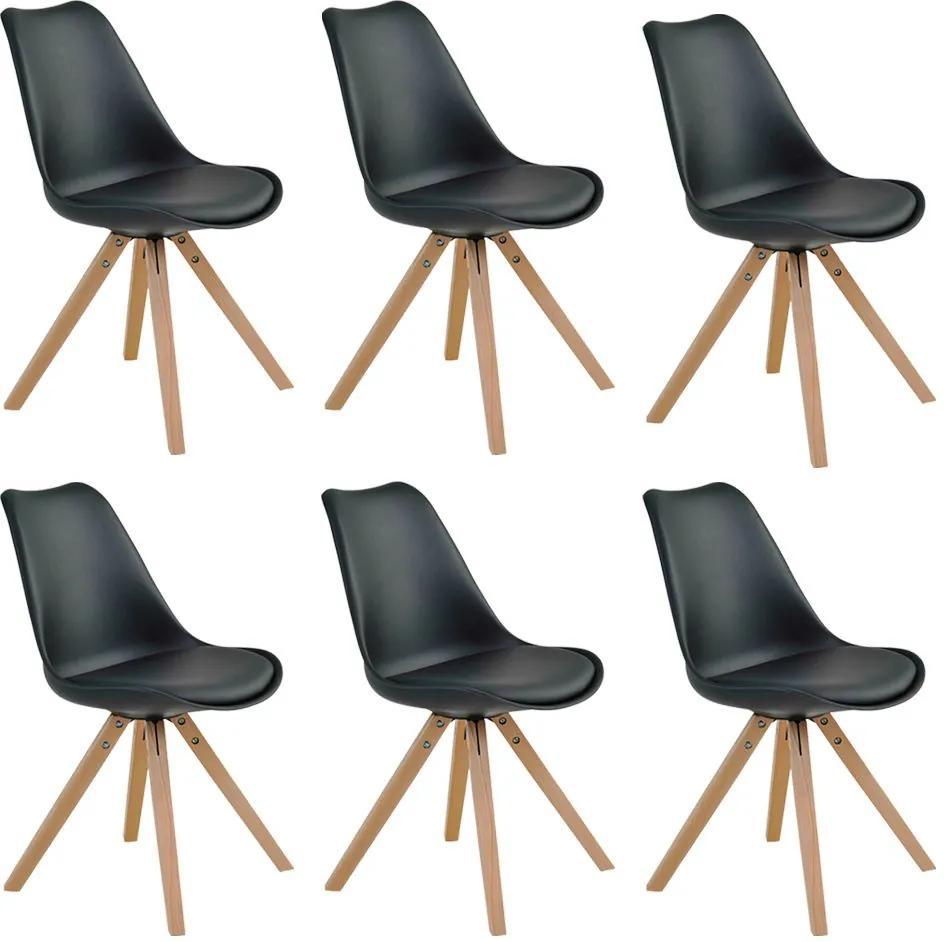 Kit 6 Cadeiras Decorativas Sala e Escritório Neo (PP) Preta- Gran Belo