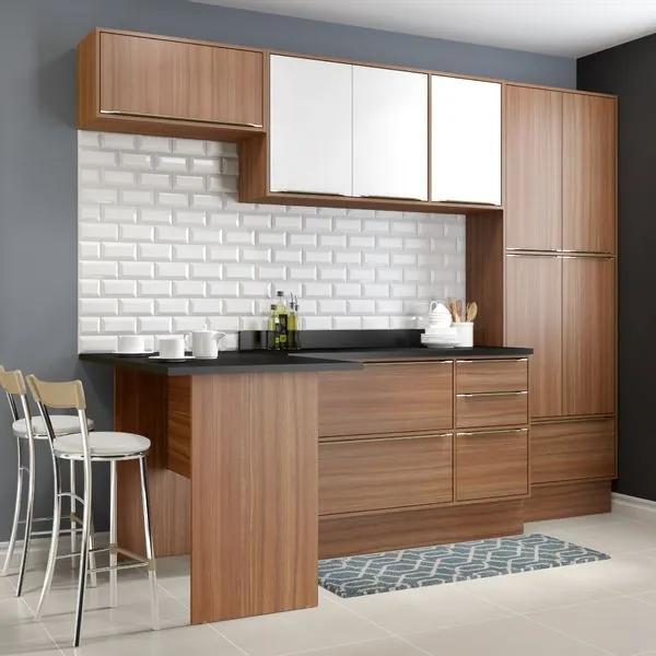 Cozinha Compacta Calábria Paneleiro, Bancada e Balcão 3 Gavetas - Nogueira/Branco