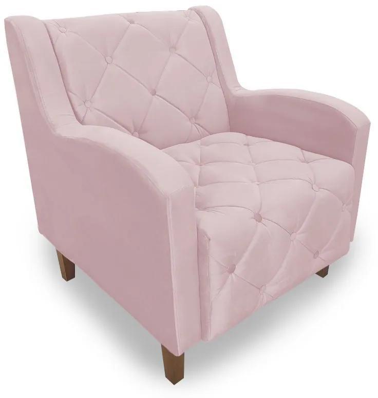 Poltrona Decorativa Munique Pés Palito Suede Rosa - Sheep Estofados - Rosa