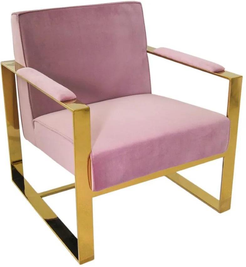 Poltrona em Metal Dourado com Estofado em Veludo Rosa - 72x80x79cm